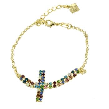 Pulseira folheada a ouro com adereço de strass multicolorido em forma de cruz