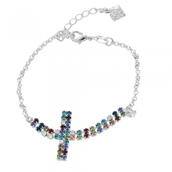 Pulseira folheada a prata com adereço de strass multicolorido em forma de cruz