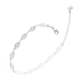 Pulseira folheada a prata com elos em forma de flor