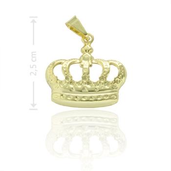 Pingente folheado a ouro em forma de coroa