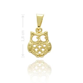 Pingente folheado a ouro em forma de coruja