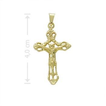Crucifixo folheado a ouro com detalhes vazados e em alto relevo