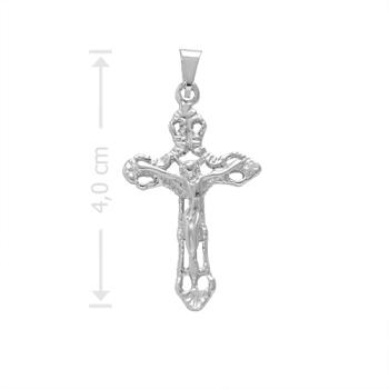 Crucifixo folheado a prata com detalhes vazados e em alto relevo