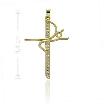 """Pingente folheado a ouro em forma de crucifixo com zircônias e a palavra """"Fé"""""""