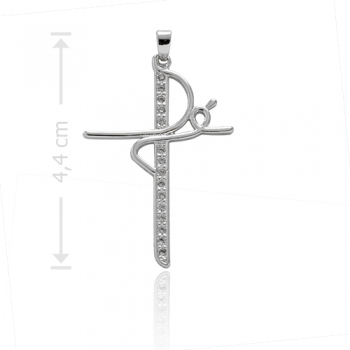 """Pingente folheado a prata em forma de crucifixo com zircônias e a palavra """"Fé"""""""