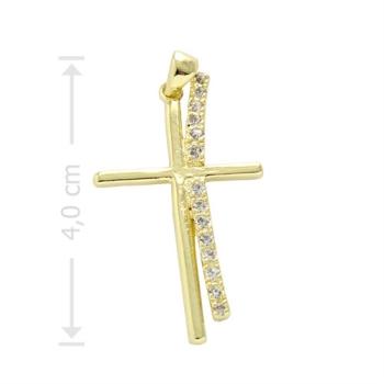 Crucifixo folheado a ouro com zircônias