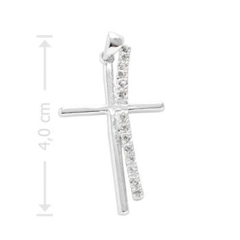 Crucifixo folheado a prata com zircônias