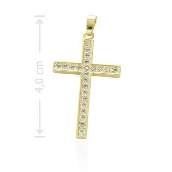 Crucifixo folheado a ouro com micro zircônias cravejadas