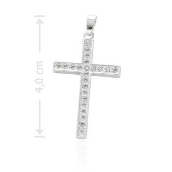 Crucifixo folheado a prata com micro zircônias cravejadas