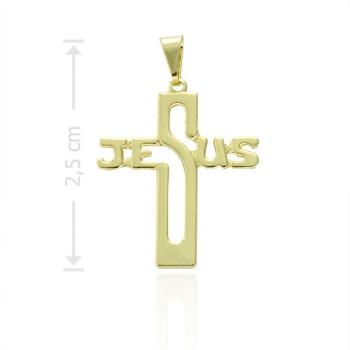 """Crucifixo folheado a ouro com a palavra """"JESUS"""""""