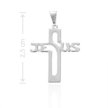 """Crucifixo folheado a prata com a palavra """"JESUS"""""""