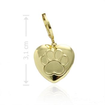 Pingente folheado a ouro com fecho tranqueta e adereço em forma de coração com uma patinha