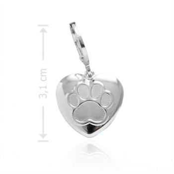 Pingente folheado a prata com fecho tranqueta e adereço em forma de coração com uma patinha