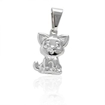 Pingente folheado a prata em forma de gatinho