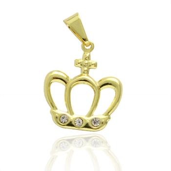 Pingente folheado a ouro em forma de coroa com pedras de strass