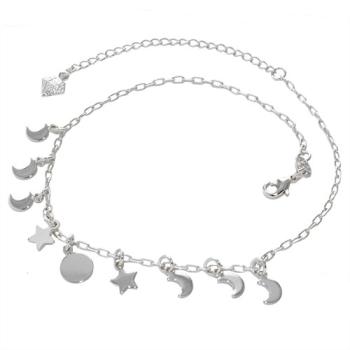 Tornozeleira folheada a prata com pingentes de estrela, lua e círculo
