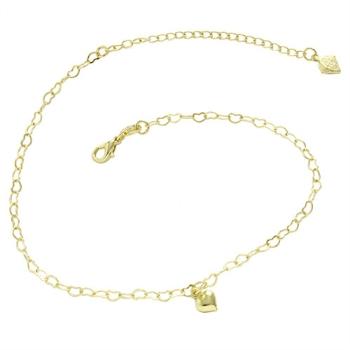 Tornozeleira folheada a ouro com pingente em forma de coração
