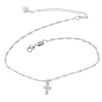Tornozeleira folheada a prata com pingente em forma de cruz com strass