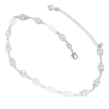Tornozeleira folheada a prata com elos em forma de flor